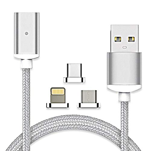 2.4A Type-C USB Charging Data Cable Magnetic Adapter Charger Cable for Samsung Galaxy S20/S10/S9/S8/Note 10/Note9/Note 8 and All USB-C Smartphone Tablet (3 in 1)