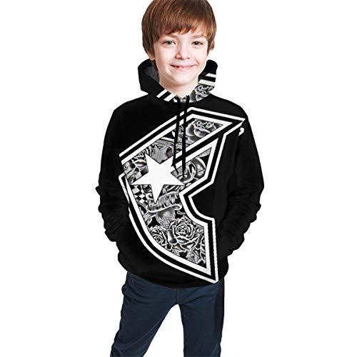 Hidend Sweat-Shirt à Capuche pour Enfants,Sweat à Capuche Garçon, Famous Stars and Straps Paint Splash Fit Teen Hooded Sweater Black