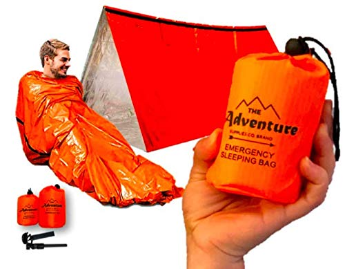 Emergency Sleeping Bag & Tent Shelter, Combo Prepper kit Survival Tent, Includes Bivy Sack Tent, Sleeping Bag, Fire Starter + Whistle, Mylar Thermal Adventure Supply Co.