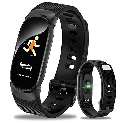 Oyznsb Smartwatch armband voor mannen vrouwen en meisjes sporttracker fitness behuizing van metaal, Zwart
