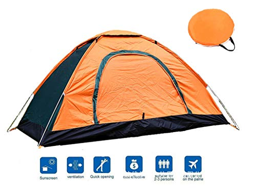 paomo 3-4 Person Camping Tent, Automatic Outdoor Pop Up Tent, Water Resistant, UV Protection Sun Shelter Tents, Easy & Fast To Set Up, Include Free Compact Carry Bag & Tent Pegs (Large)