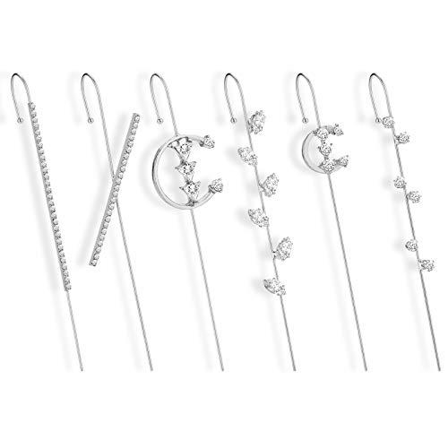 Yumcute Ear Wrap Crawler Hook Earrings, 6 pezzi Orecchini con Gancio per Cingoli Dell'orecchio, Orecchini Croce per donne e ragazze (Argento)