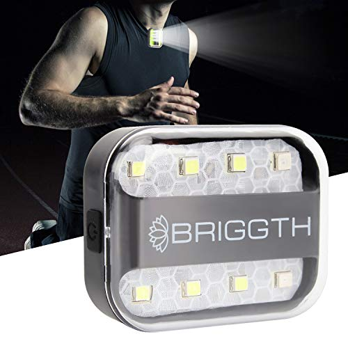 BRIGGTH Clip on Running lights for runners USB C rechargeable - Running light - safety lights for walking at night - dog walking light - jogging light- reflective running gear - night running light