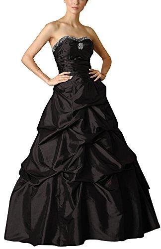 Romantic-Fashion Damen Ballkleid Abendkleid Brautkleid Lang Modell E468 A-Linie Perlen Pailletten DE Schwarz Größe 52