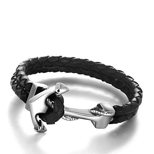 braccialetto ancora Mode  IDEA REGALO Bracciale da Uomo in Vera Pelle con Chiusura Ancora | Design in Multistrato Classico e Intrecciato | Più colori | Braccialeto Ideale per un regalo o per renderti felice (Nero 5)