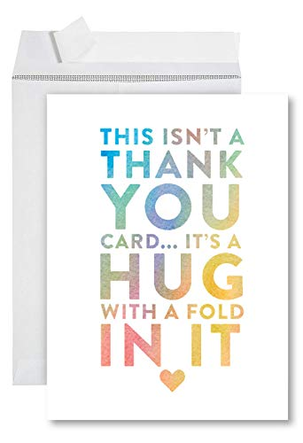 Andaz Press Funny Jumbo Thank You Card With Envelope 8.5 x 11 inch, Big Greeting Card, Hug With A Fold In It, 1-Pack, Huge Large Group Greeting Card, Includes Envelope