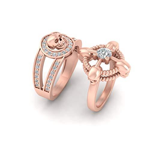Juego de anillos de compromiso con diseño de calavera gótica y cuerda náutica a juego, oro rosa de 14 quilates, con calavera de diamante