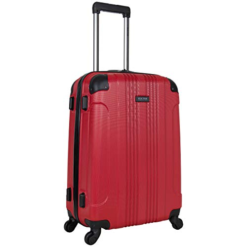 Kenneth Cole Reaction Out of Bounds 24-inch Check-Size Lightweight Durable Hardshell 4-Wheel Spinner Upright Luggage, Red