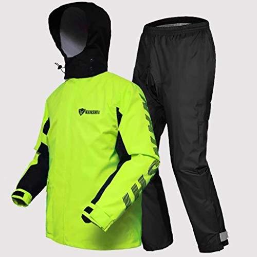 LXESWM Fietsjack voor heren, waterdichte jas, capuchon, heren, waterdicht, set voor motor, regenjas, outdoor, sport, regenjas, waterdichte broek