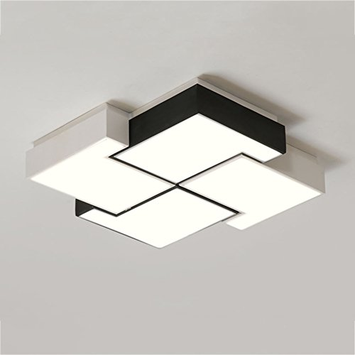 GPZ-iluminación de techo Lámpara de techo cuadrada, lámpara de dormitorio romántica cálida Lámpara de sala de estar creativa llevó lámparas de moda nórdicas modernas sencillas [Clase energética A ++]