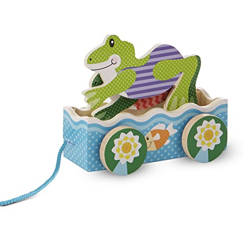 Melissa & Doug Friendly Frogs Wooden Pull Toy First Play-Jouet a Tirer en Bois-Mes 2 amies Grenouilles, 13615, Multicolore