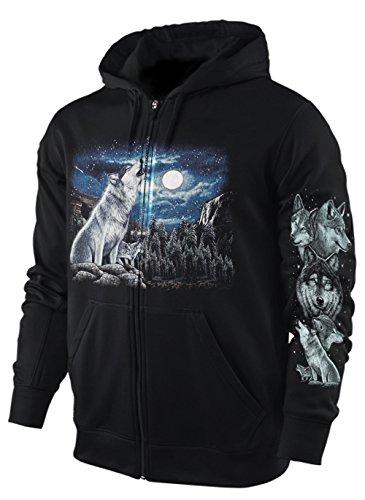 Blackshirt Company Sweatshirt-Jacke/Hoody WÖLFE AM Wasserfall Größe S