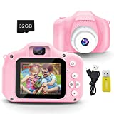 DINKY Kids Camera, Kids Digital Camera, 1080P HD Rechargeable Mini Digital Video Camera with 2.0 Inch Screen & 32GB SD Card, Camera Toy Gift for Boys Girls Age 3-9, Pink