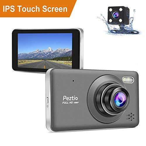 Dual Dashcam Front- und Heckkamera Full HD 1080P Auto Armaturenbrett Kamera mit Nachtsicht, 10,2 cm Touchscreen, 170° Weitwinkel, G-Sensor, Loop-Aufnahme, Park-Monitor, Bewegungserkennung