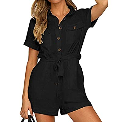 JustWin Women's Sleeveless Solid Color One Piece Jumpsuit Button Down Cuffed Casual Elegant Boho Playsuit Jumpsuit