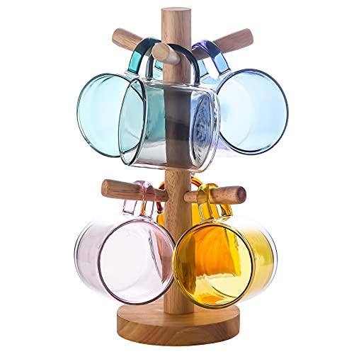 Tazas de Vidrio Doble Pared de Color con Mango y Tapa (275ml), Candiicap Tazas de Café para Bebidas Frías y Calientes, Vasos Termicos para Desayuno, Té, Leche, Latte, Capuchino