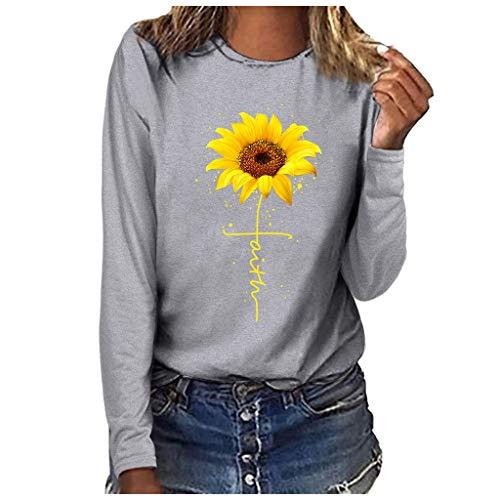 riou Sudaderas Casuales de Cuello Redondo para Mujer Tops y Blusas Estampado de Girasol Camiseta Manga Larga Jersey Holgado Suéter