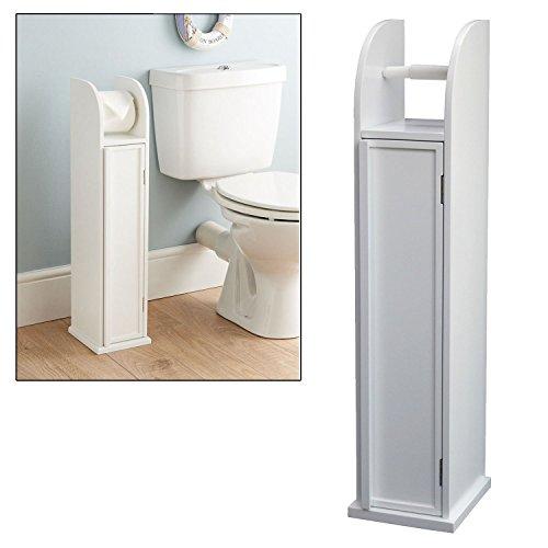 Taylor & Brown - Porta-rotolo da bagno autoportante con contenitore - in legno bianco