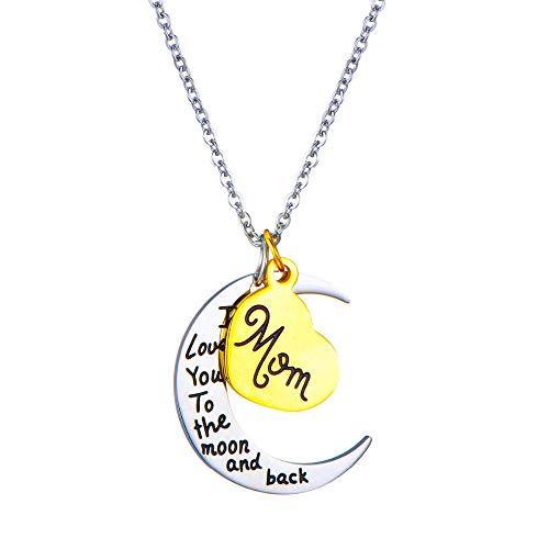 Kim Johanson Damen Halskette *Mama, Ich Liebe Dich bis zum Mond und zurück* in Silber mit einem Herz in Gold Mom Mutter Geschenk inkl. Schmuckbeutel