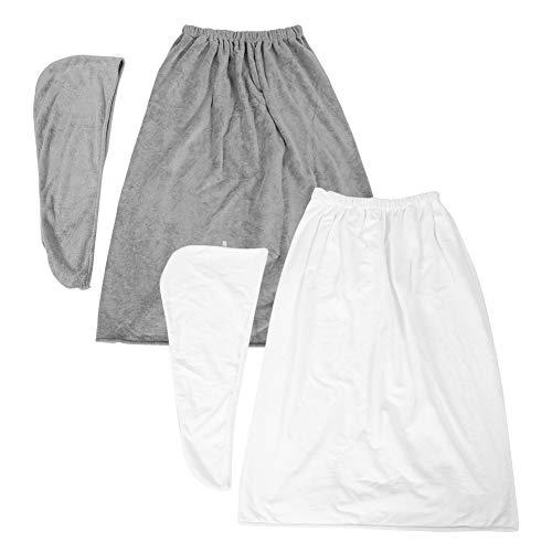 Juego de toallas de vestir ajustables Traje de falda de baño suave de fibra para niña mujer(gris)
