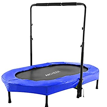ANCHEER Foldable Trampoline Mini Rebounder Trampoline with Adjustable Handle Exercise Trampoline for Indoor/Garden/Workout Cardio Parent-Child Twins Trampoline Max Load 220lbs