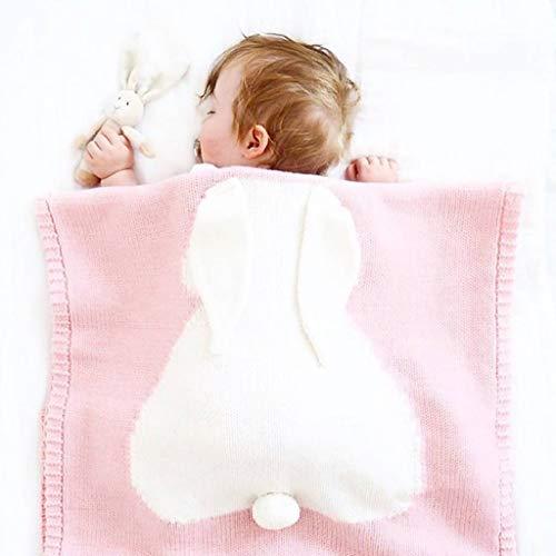 JUEJIDP Manta de Bebé Transpirable, Manta de Recepción Pequeña para Cama de Niño, Ropa de Cama de Punto para Guardería Esencial para Cama de Niño, Cochecito de Cuna, Príncipe y Princesa,Rosado