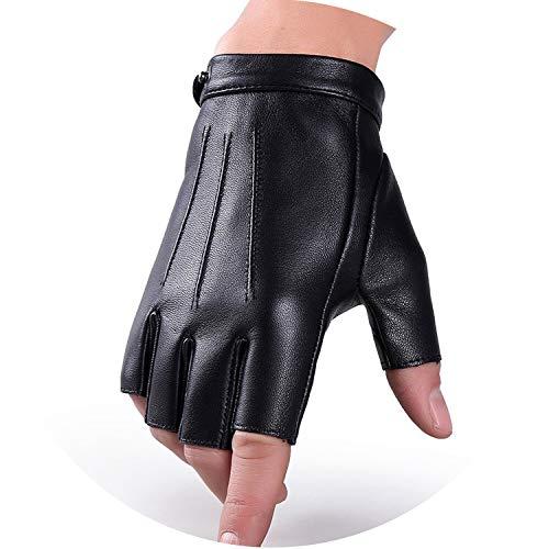 Herren/Damen Halbfinger-Handschuhe aus echtem Schafsleder, dünne und atmungsaktive Handschuhe für Outdoor-Sport, Fitness, Fahren, A57, Damen, Schwarz, Damen, Small