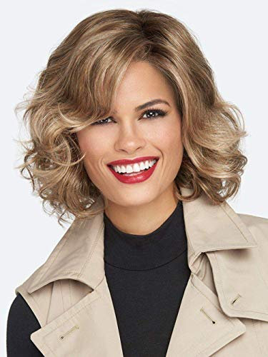 Perruque Charme Naturel Femmes Perruques Perruques avec Frange pour Femmes Court Ondulé Doré Naturel Synthétique Cheveux Bouffis