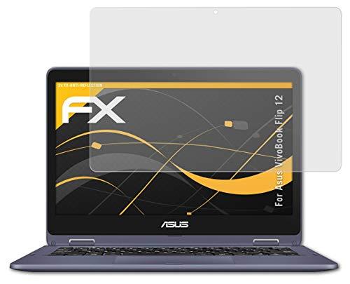 atFolix Panzerfolie kompatibel mit Asus VivoBook Flip 12 Schutzfolie, entspiegelnde & stoßdämpfende FX Folie (2X)