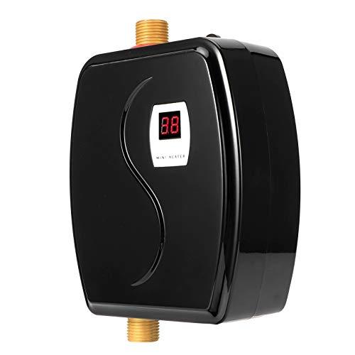 Durchlauferhitzer, Tragbarer Mini-Warmwasserbereiter Sofortiger elektrischer Warmwasserbereiter, für Badezimmer-Haushaltsküchen, 3800 W, EU-Stecker(Schwarz)