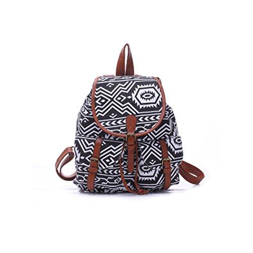 WINOMO Scuola di moda Ladies Womens con coulisse tela zaino zaino borsa a tracolla borsa Casual