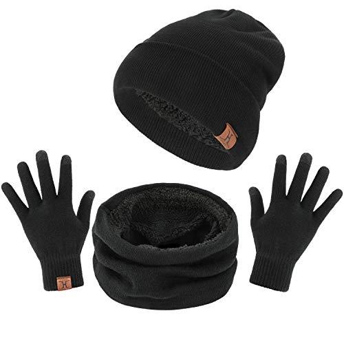 TAGVO Winter Beanie Hut, Schal, Touchscreen Handschuhe 3 in 1 Warmes Zubehör Kit, Weiches Fleece Innenfutter Tolles Warm, Stretchy Strick Beanie Cap, Elastischer Nackenwärmer