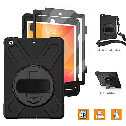 iPad 10.2 Case 2019/iPad 7th Generation Case with Screen Protector,TSQ Heavy Duty Shockproof Hard Durable Rugged Protective Kids Case with Hand Strap/Stand/Shoulder Strap for iPad 7th Generation,Black