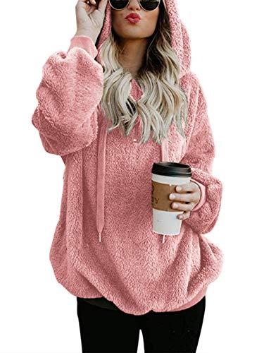 Women's Cozy Oversize Fluffy Fleece Sweatshirt Hooded Pullover Spring Outwear Pink S