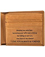 Gifts for Husband Unique Engraved Mens Wallet Husband Gifts for Christmas Valentines Day, Personalized Gifts Genuine Leather Wallets for Men (Husband Gifts from Wife)