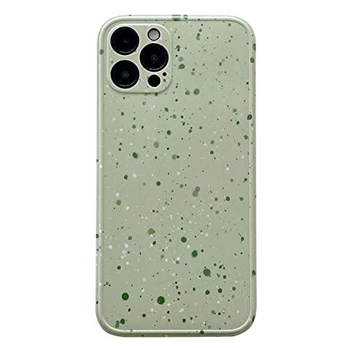 DSMYYXGS Cassa del Telefono di Arte Green Art Green Art Coreano retrò Coreano for iPhone 11 12 PRO Max XS Max XR. XS 7 8 Plus X 7Plus Case Cute Cover Soft (Color : A, Size : for iPhone 12)