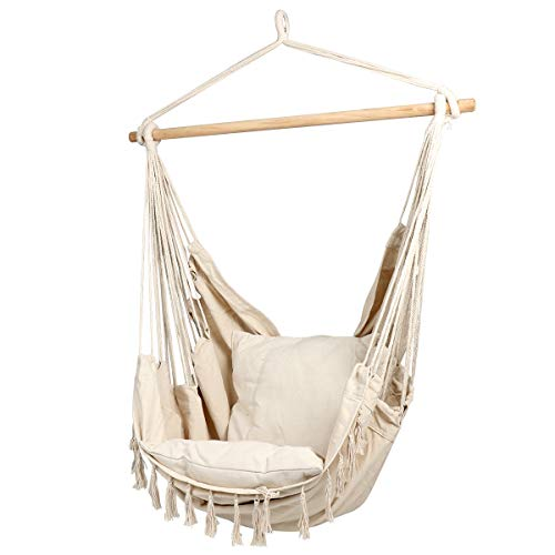 CCTRO Large Hammock Chair | Hanging Rope Swing Seat for Indoor & Outdoor | Soft & Durable Cotton...