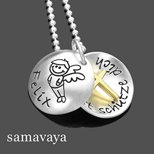 Kette Taufe Gravur Junge GOTT SCHÜTZE DICH Gold Junge 925 Silber Taufkette mit Schutzengel