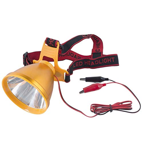 YONGJIXIE lámpara de Cabeza Faro led Brillante 35W Faro a Prueba de Agua Use la batería 12V para Acampar, Pesca, Caza (Body Color : Gold, Emitting Color : Yellow)