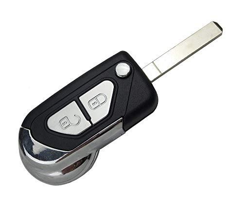 PHONILLICO - Guscio chiave per Citroen DS3 dal 2009 al 2020 - Plip telecomando a 2 pulsanti con lama