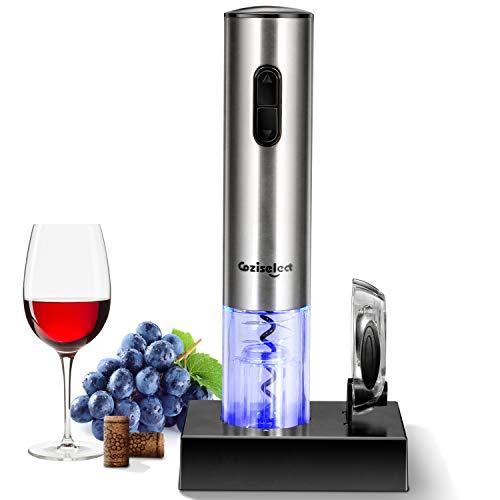 Sacacorchos Eléctrico Inalámbrico, Coziselect Profesional Automatico Abrelatas de Vino, Abridor Botellas con Cortador de Papel, Caja de Regalo, El Regalo Ideal para los Amantes del Vino