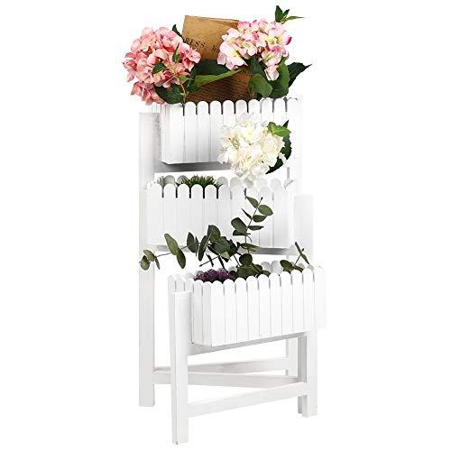 Cikonielf Estantería de Madera para Macetas, Escalera para Flores Plegable, Soporte de 3 Niveles para Plantas Exterior Interior Jardín(Blanco)