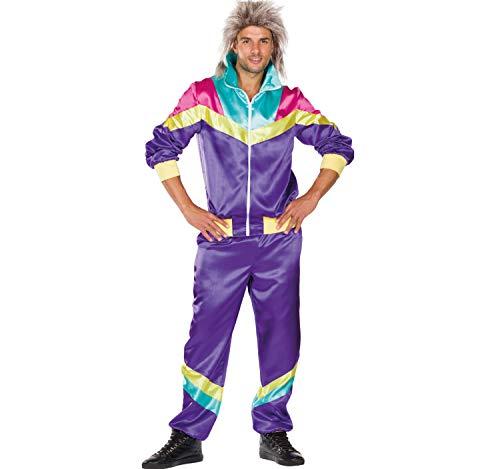 Rubie\'s Herren Kostüm Retro Jogginganzug lila bunt 80er 90er Mehrfarbig Fasching Karneval (56)