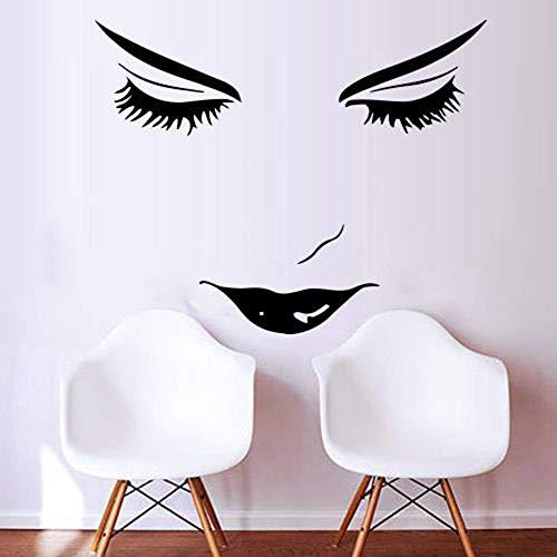 Etiqueta de la pared de pestañas, calcomanía artística para pared, tienda de belleza, decoración de habitación, salón de belleza, habitación de niña, papel tapiz de cara para mujer