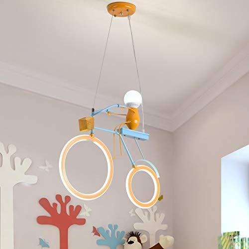 Modern Gelb Kinderlampe Fahrrad kreative dekorative Licht, Kinderzimmer Pendelleuchte Höhenverstellbar LED Pendellampe Personalisierte Hängeleuchte für Kinderzimmer Schlafzimmer LED+E27