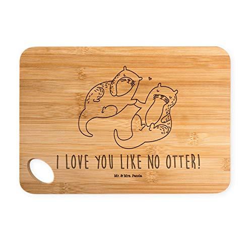 Mr. & Mrs. Panda Küchenbrett, Schneidblock, Bambus - Schneidebrett Otter händchenhaltend mit Spruch - Farbe Transparen
