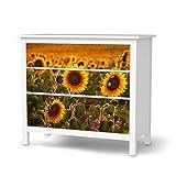 creatisto Möbeltattoo passend für IKEA Hemnes Kommode 3 Schubladen I Möbelaufkleber - Möbel-Folie Tattoo Sticker I Wohn Deko Ideen für Esszimmer, Wohnzimmer - Design: Sunflowers