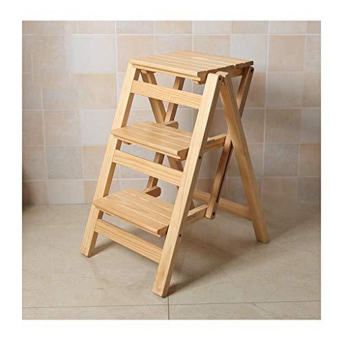 Z-STOOL Massivholz 3 Stufen Leiter rutschfeste Hocker Schritt Klappstuhl Multifunktionale Dekoration Tragbare Leiter Schritt Schuh Bank (Color : Wood)