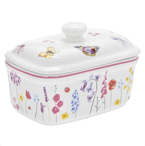 The Leonardo Collection LP94473 Butterdose mit Deckel, Schmetterling-Garten, feines Porzellan, mehrfarbig, verpackt