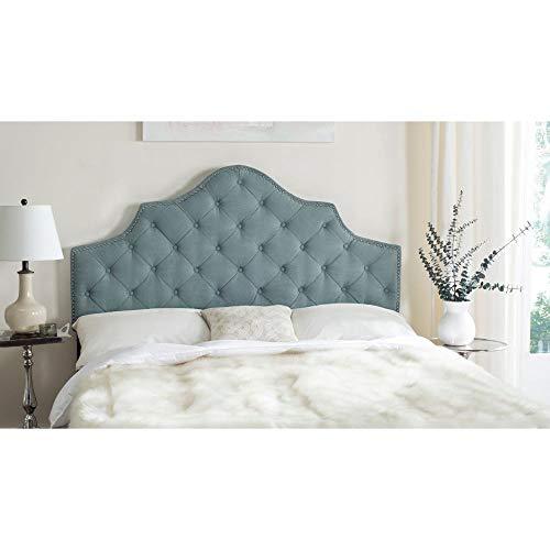 Safavieh Arebelle Sky Blue Upholstered Tufted Headboard - Silver Nailhead (King)